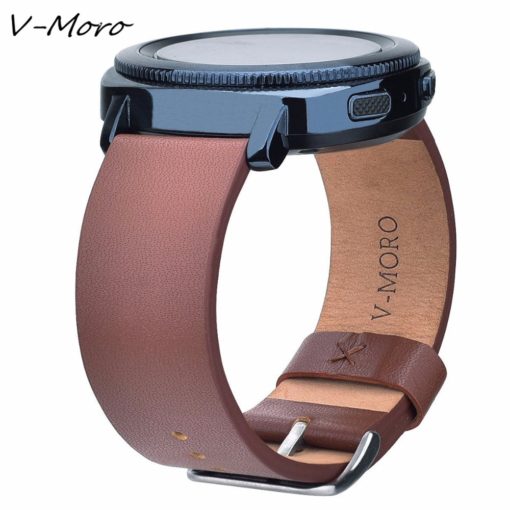 V-MORO 2018 New Style Genuine Leather Watch Strap For Samsung Gear Sport Band Wrist Band Bracelet Watch Bands Gear Sport Straps large small size sport silicone replacement watch wrist strap bands for samsung gear fit 2 r360 watch band conjoined watch band