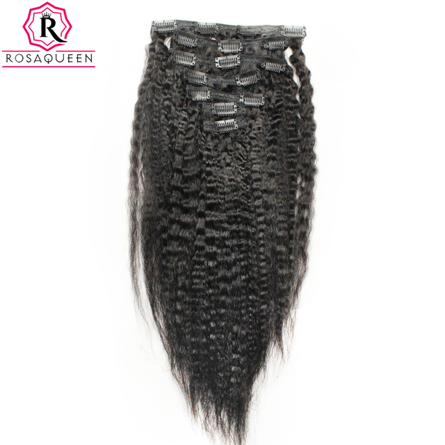 Kinky Straight Clip In Human Hair Extensions Brazilian Remy Hair 100