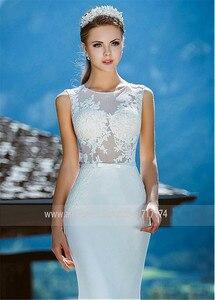 Image 2 - Romantique o décolleté transparent robe de mariée sirène avec Appliques de dentelle Illusion dos sirène robe de mariée vestidos de 15
