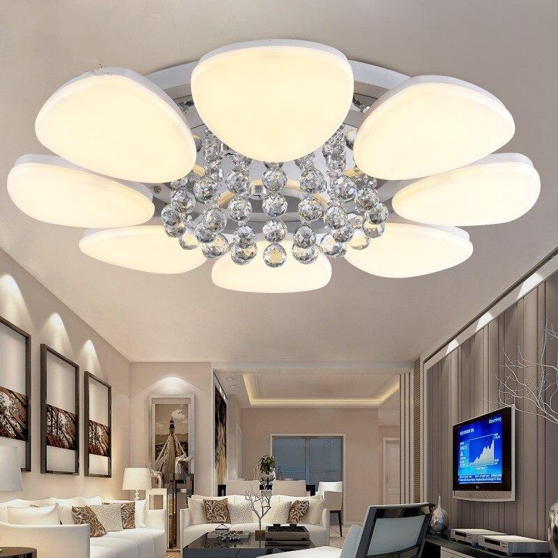 Moderne Cristal Led Plafonniers Salon Salle A Manger Lampe