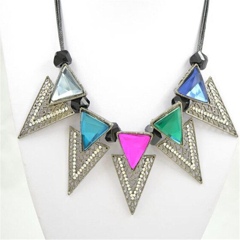 new arrival retro design unique personality triangular exaggerated collarbone necklace sweater pendant chain choker necklace