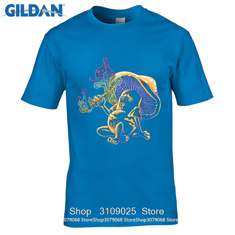 6cbbdcb617c GILDAN DIY Style Loose Short Sleeve Mens Shirts Psychedelic Magic Mushroom  Smoking A Human