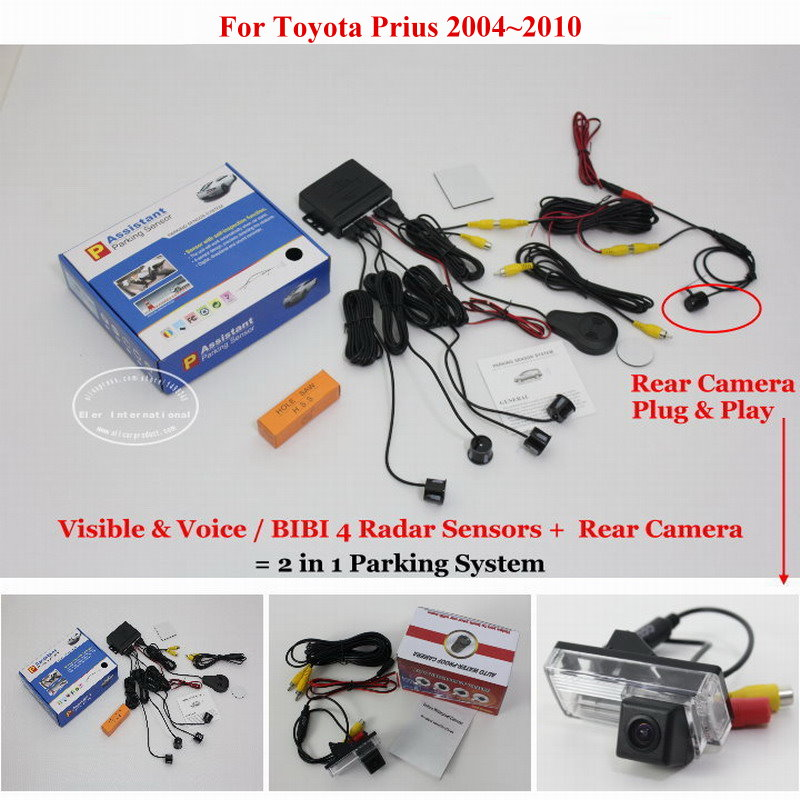 Liislee For Toyota Prius 2004~2010 - Car Parking Sensors + Rear View Camera = 2 in 1 Visual / BIBI Alarm Parking System car parking sensors rear view camera 2 in 1 visual bibi alarm parking system for subaru forester sj 2012 2015