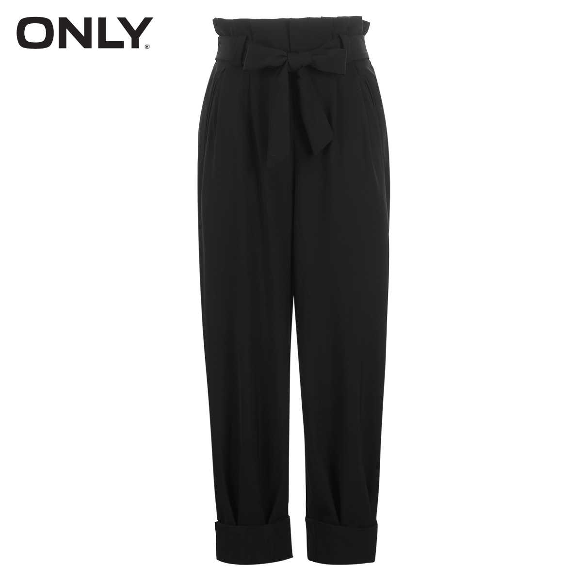 ONLY Summer Women's Lace-up High-rise Rolled Crop Pants |118350528