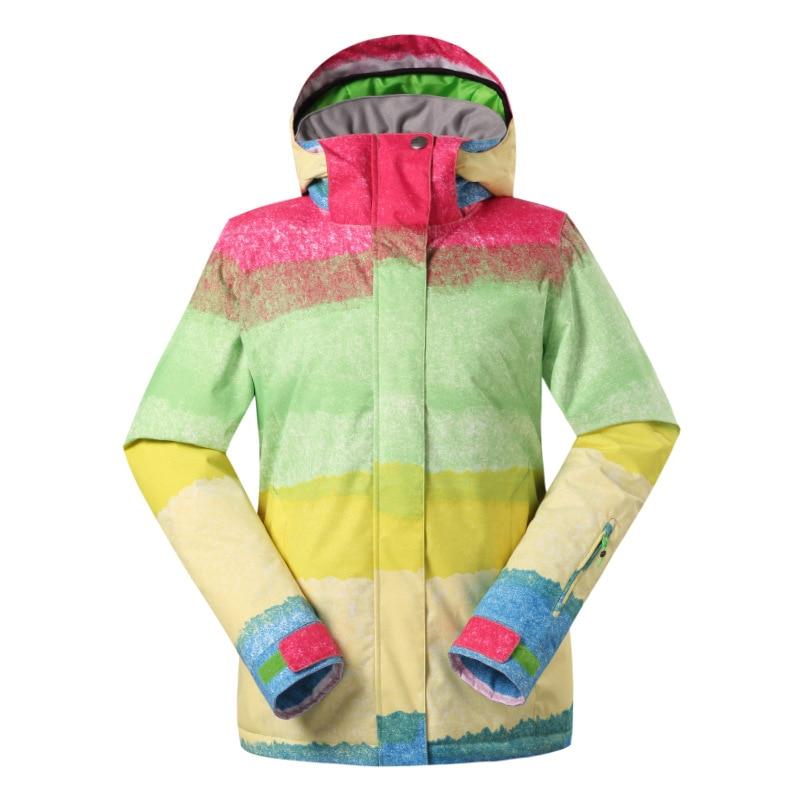 Gsou neige femmes Ski costume imperméable Snowboard veste coupe-vent chaud coloré hiver Sport manteau - 3