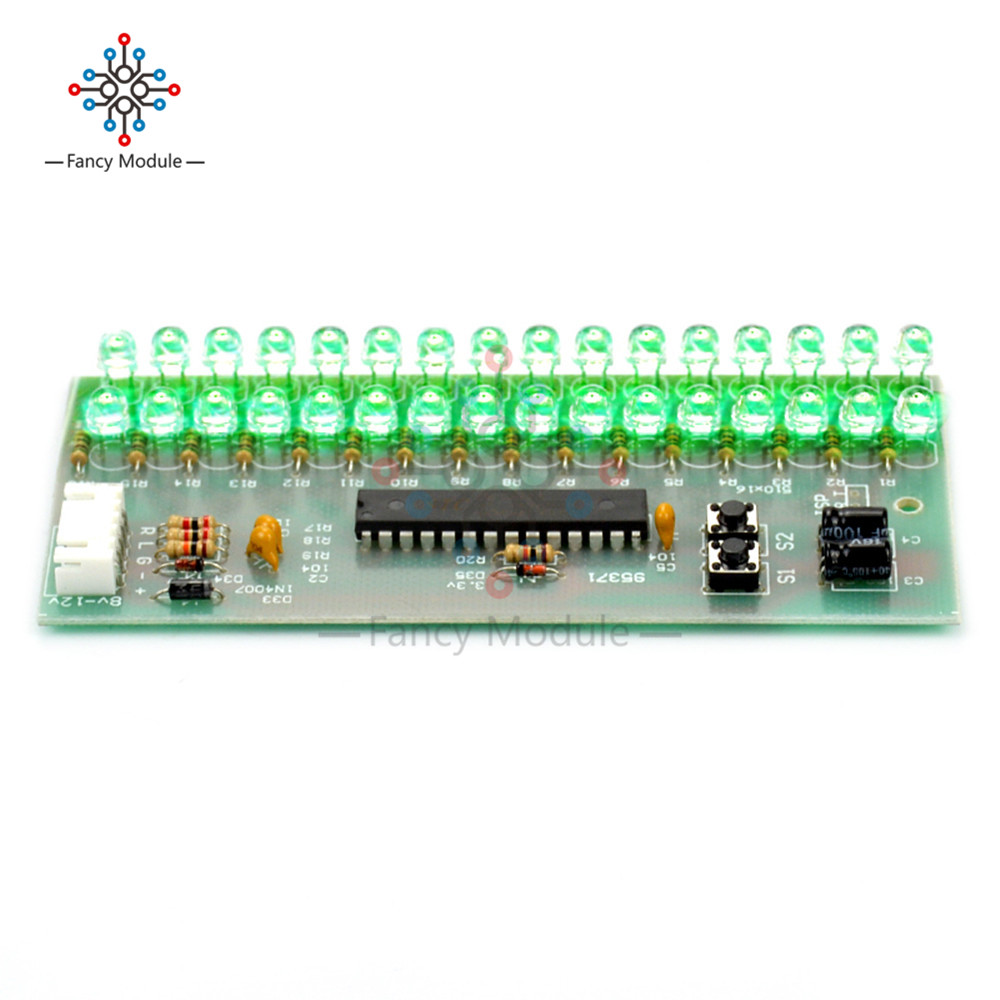Mcu Adjustable Display Pattern Led Vu Meter Level Indicator Stereo Booster Circuit Diagram Amplifier Audio 16 Dual Channel Green Lamp Light Dc 8v To 12v In Instrument Parts