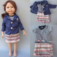 3 In 1 Doll Clothes For 18 Inch American Girl Doll Clothes Shirt Pink Mini Skirt