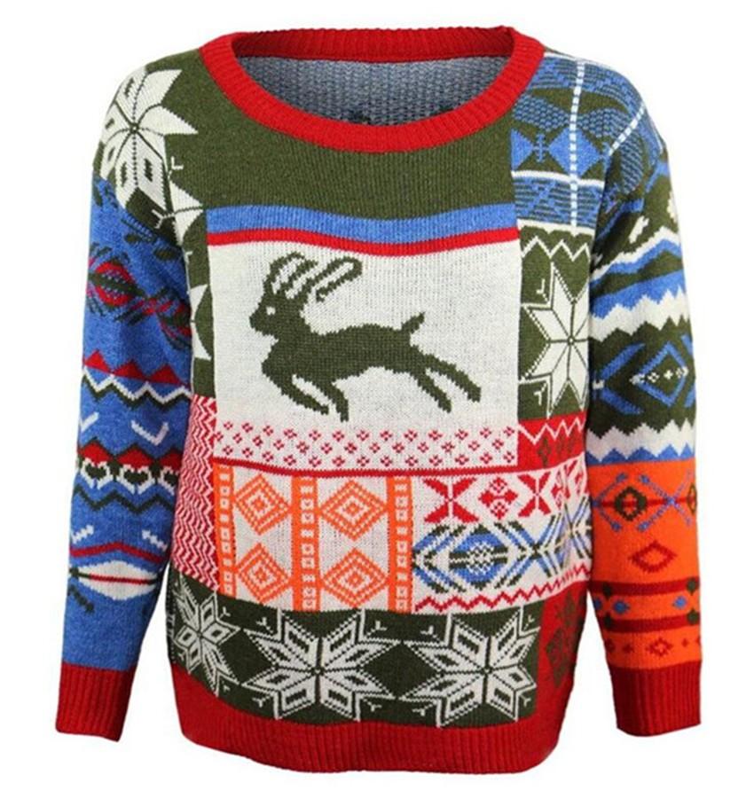 ocia женщин зимой теплый кленовый лист рождество олень с длинными рукавами свободная свитер