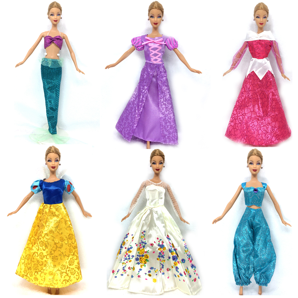 NK 5 Set Randomly  Princess Doll Dress Fairy Tale Wedding Dress Gown Party Outfit For Barbie Doll Best Cosplay Girls' Gift fairy tale dress kids halloween princess cosplay dress