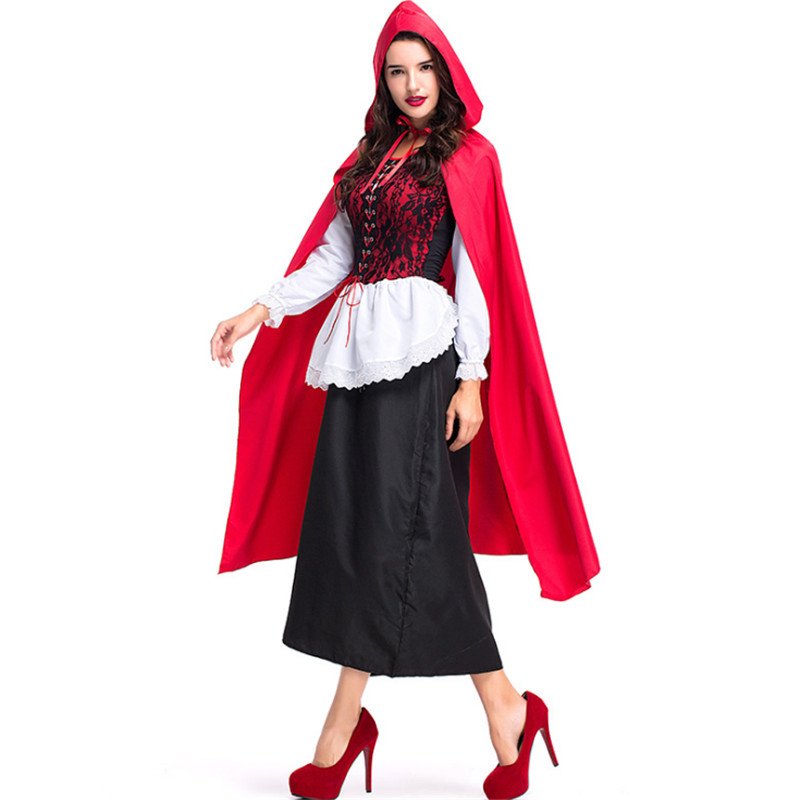 high quality Lace Long Cape Little Red Riding Hood Costume Sexy Small Red Cap cosplay Party Dress Halloween Costumes for Women