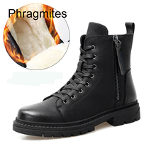 Phragmites Brand 2019 Leather Boots Winter Warm Fur Men Shoes England Fashion Zipper Short Men Boots Male New Botas Hombre new motorcycle fur boots men brand military boots pu leather spring black metal gothic punk boots male shoes botas moto hombre