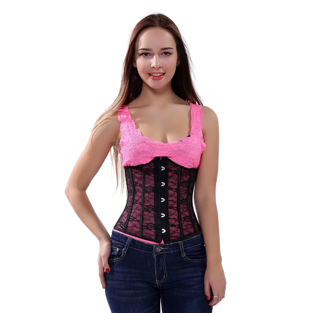Women Waist Cincher Under bust   Corset   Lace up Boned Thin Mesh   Bustier   Top   Corset   Free Shipping