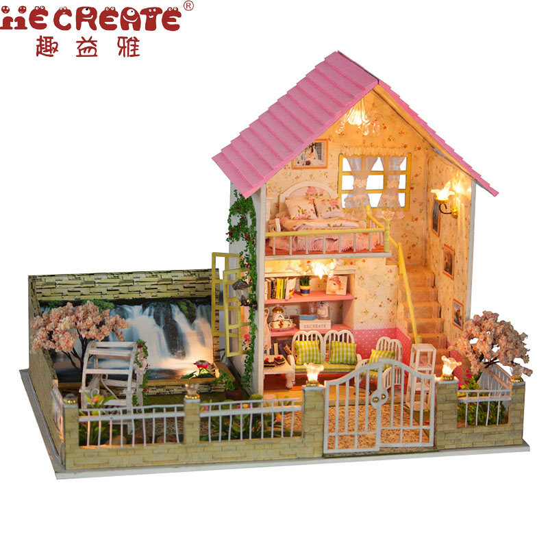 Miniature Doll House Kit Provence Dollhouse DIY Music LED Light Wooden House Model Toy with Furniture Birthday Christmas Gifts diy wooden handcraft miniature provence dollhouse voice activated led light