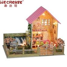 Dollhouse miniatur Rumah Boneka Kit Provence DIY Musik LED Light Wooden House Model Mainan dengan Furniture Ulang Tahun Hadiah Natal