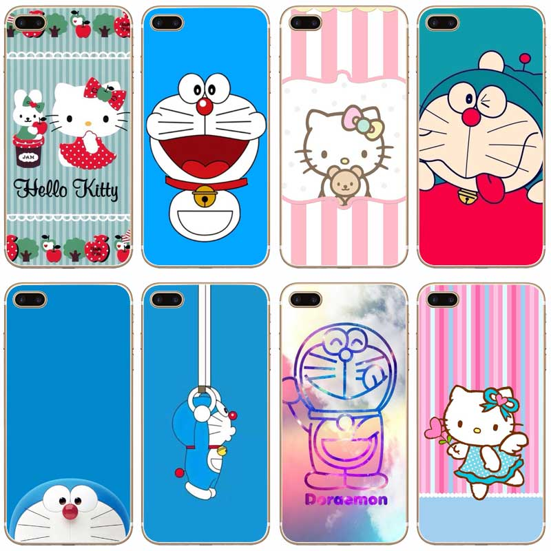 H448 Doraemon And Hello Kitty Transparent Hard Thin Case Cover For Apple iPhone 4 4S 5 5S SE 5C 6 6S 7 8 X Plus