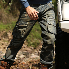 2017 Spring New Multi Pockets Vintage Style Mens Jean Trouser Casual Wearable Jeans Cargo Pants