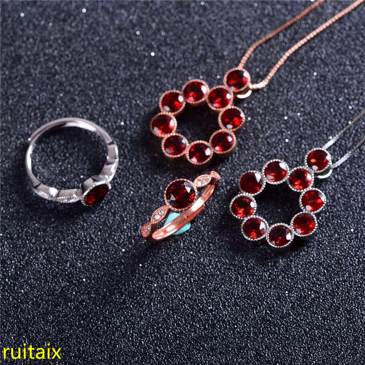 KJJEAXCMY boutique jewels Pure silver inlaid with natural garnet female ring pendant necklace 2 pieces of gold and silver color. pure color velvet six pieces thin choker necklace