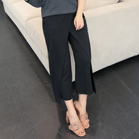 A New Summer Fashion New Fat False Two Wide Leg Pants Loose Elastic Waist Korean Large
