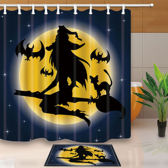 Warm Tour Halloween Witch Polyester Fabric Bathroom Shower Curtain Set With Hooks WTS052