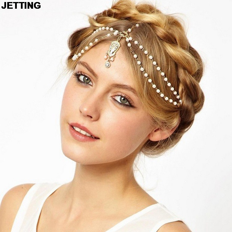 JETTING 2015 New Beach Alloy Plated Head Chain Hair Jewelry Tassel Pearl Leaves Bindi hair accesories Indian Boho Headband
