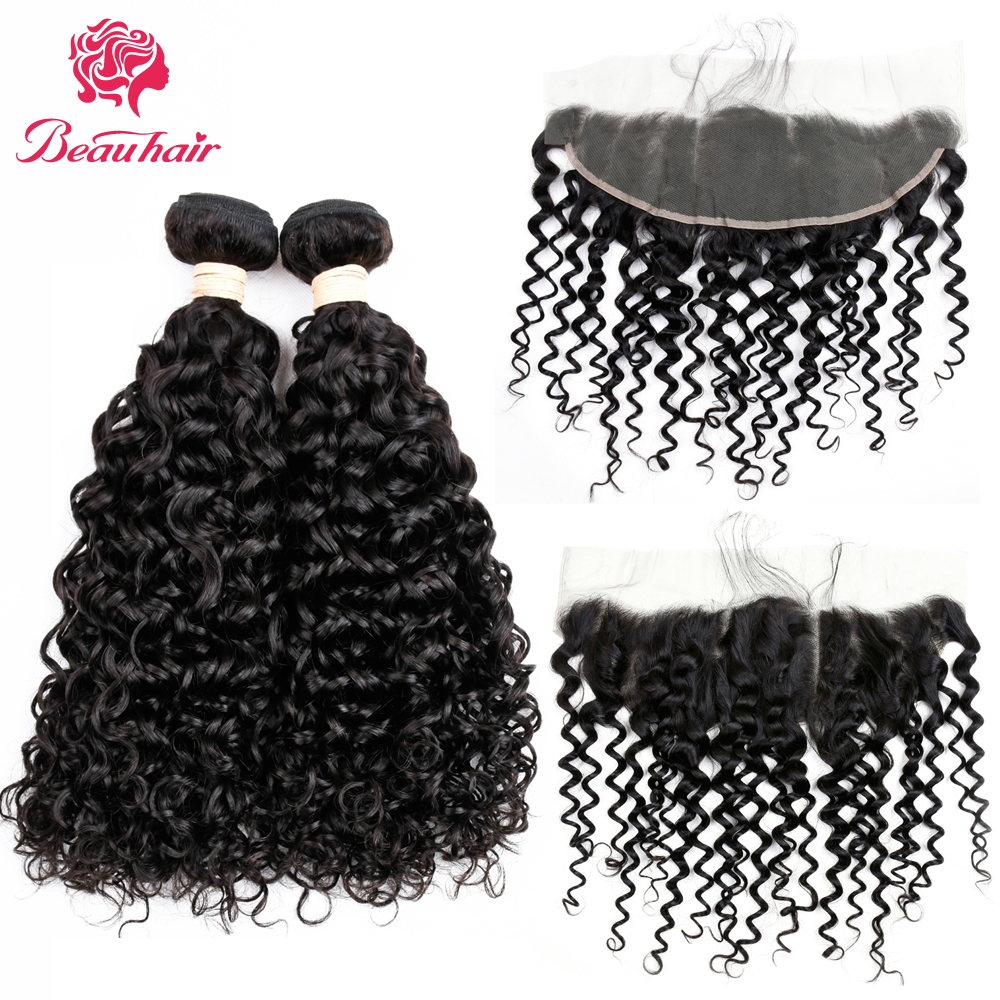 Beau Hair Water Wave Brazilian Human Hair 2 Bundles With Lace Frontal Closure 13x4 Lace Frontal With 2 Bundles Hair Extensions