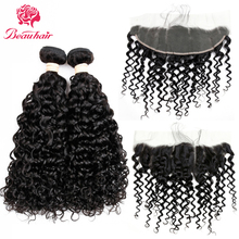 Beau Hair Water Wave Brazilian Human Hair 2 Bundles With Lace Frontal Closure 13×4 Lace Frontal With 2 Bundles Hair Extensions
