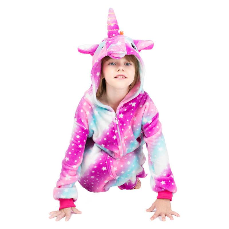 冬子供動物パジャマ子供ステッチ unicornio パジャマユニコーン着ぐるみ女の子パンダフランネル Onesies ネグリジェ