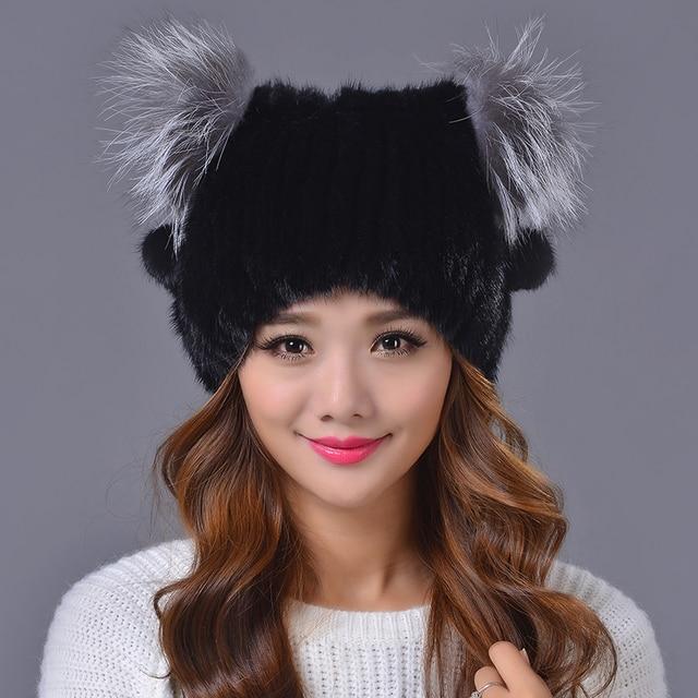 2016 Winter Beanies Fur Hat for Women Cute Novelty Mink Fur Ball Solid Mink Fashion Women Fur Hat