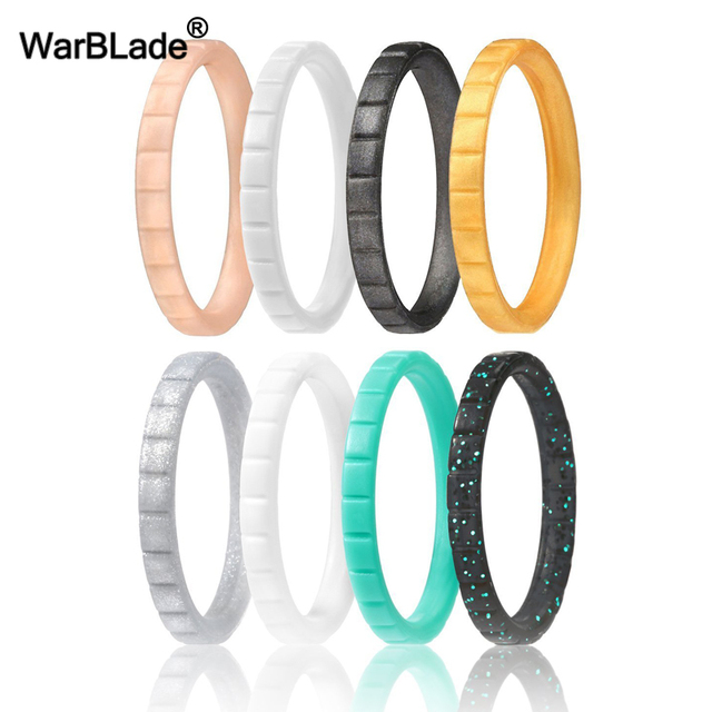 WarBLade 2018 New 3mm Hypoallergenic Crossfit Flexible Silicone Ring For Women Wedding Rings Food Grade FDA Silicone Finger Ring