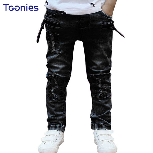 adf17036443ca Boys Black Ripped Jeans Stretchiness Skinny Denim Pants Fashion Slim Fit  Jean Children s Clothing Boy Roupa Infantil Menino Kids