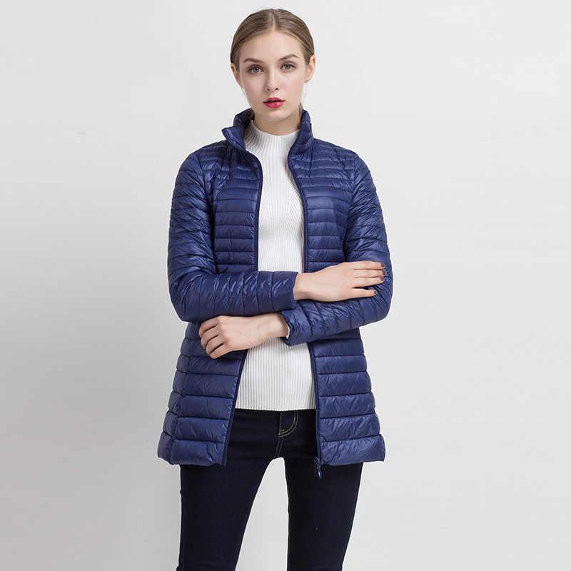 CIVICHIC Новая мода S-XXXXL женщина средней длины осень зима ультра легкий пуховик тонкий плюс размер теплое пальто Верхняя одежда DC516