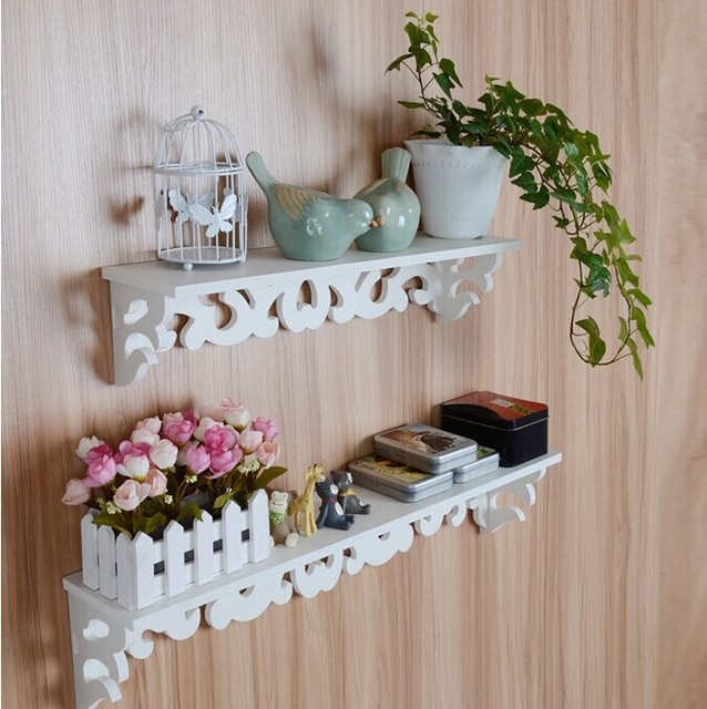 Ikea Style White Word Carved Flower Wall Shelf Home Decoration ...
