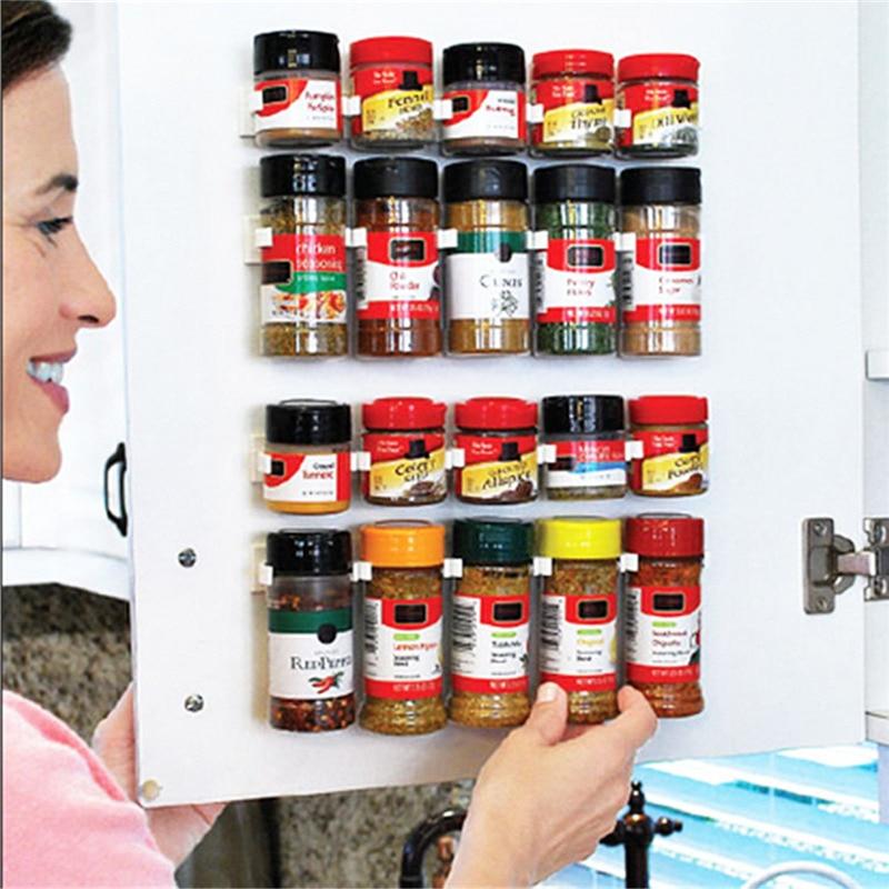 4 rows/set Hanging Spice Finishing Rack Spice Wall Storage Plastic Kitchen Organizer Rack Cabinet Door Hooks Kitchen Accessories