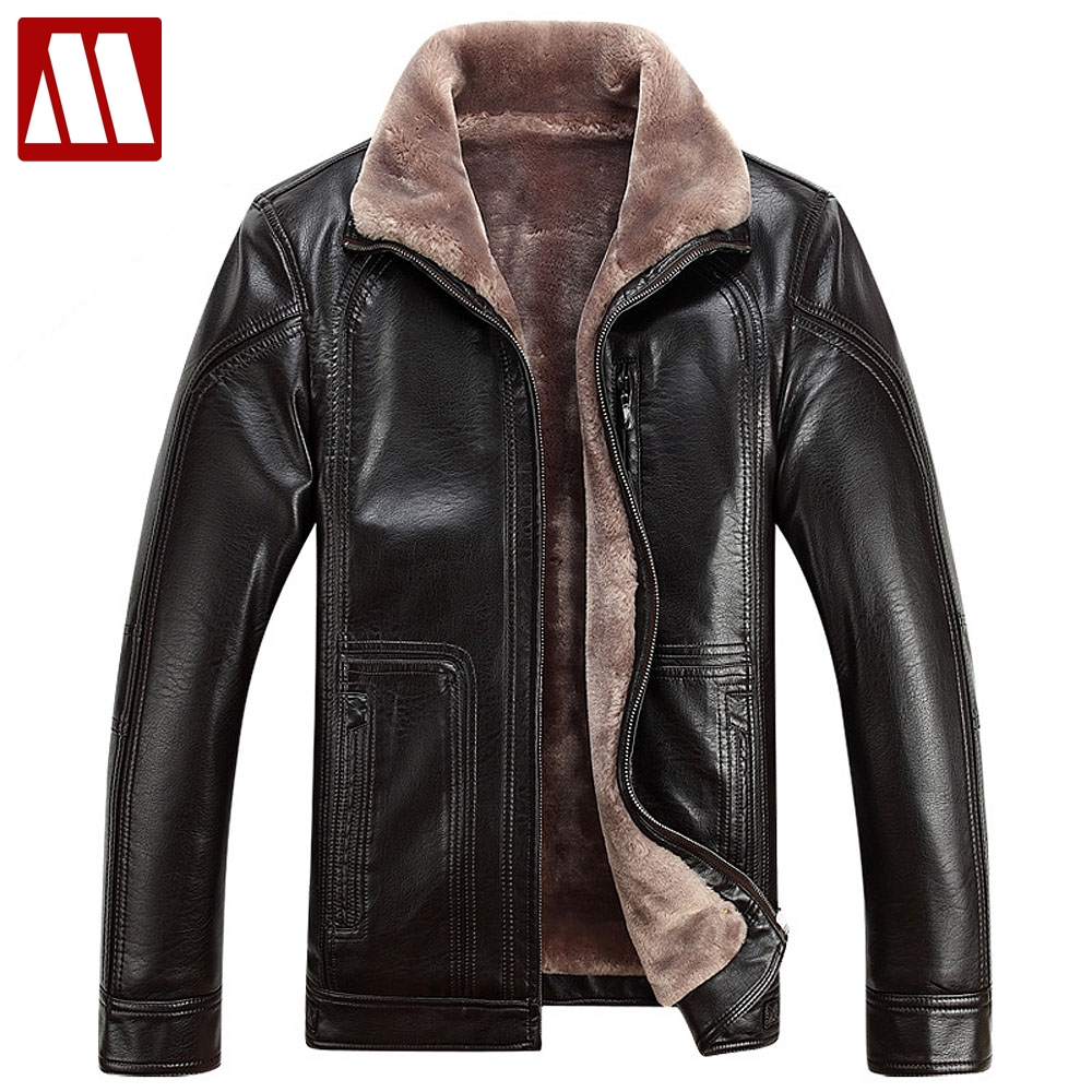 Plus Size 4Xl Fur Lined Leather Jacket And Coats Brand -9174
