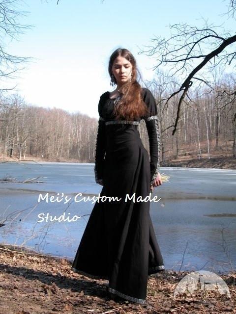 Custom Made Medieval Fantasy Black Dress TEA PARTY DRESS
