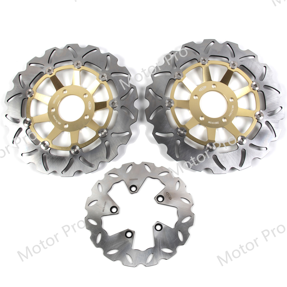 For Suzuki GSXR 1100 1989 1990 Front Rear Brake Disc Disk Rotor Kit Motorcycle GSX R GSX-R GSXR1100 GSX1100R GSXR750 750 GOLD front brake disc rotor for suzuki gsxr1000 abs 2015 up gsx r1000 non abs 2009 up gsxr600 gsxr750 2008 up gsx r600 gsx r750
