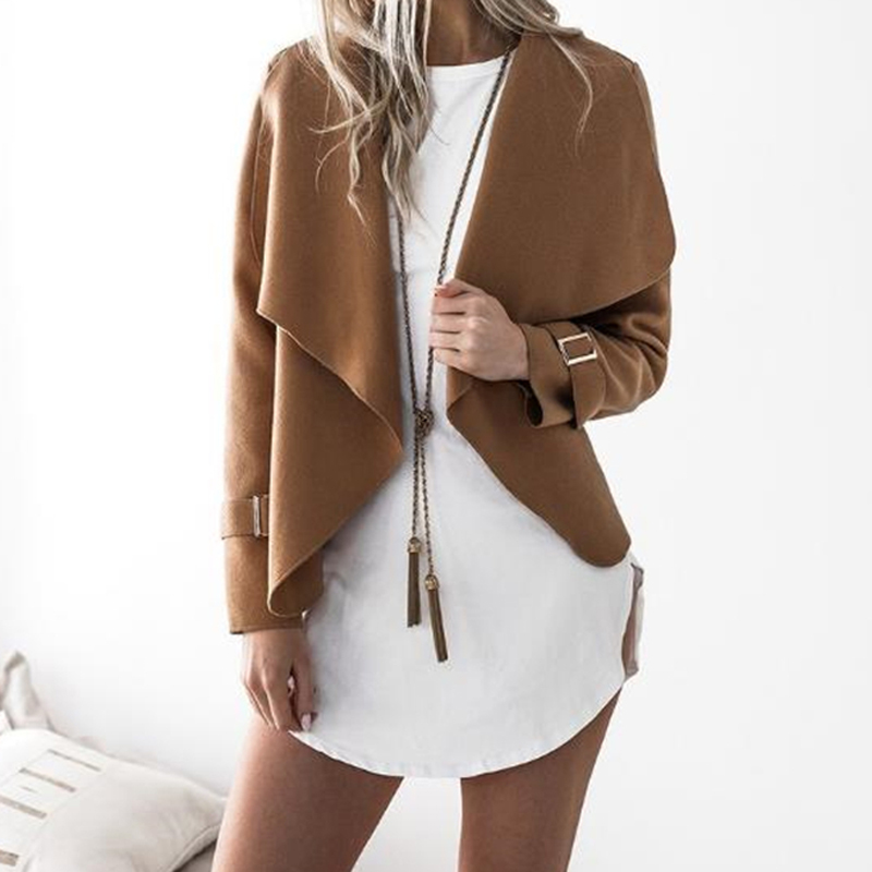 Womens Autumn Casual Wool   Jackets   Ladies Long Sleeve   Basic     Jacket   Good Quality Ladies Short Coat Outwear DY013