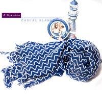 Mavi ve Beyaz Dalga Şeritler Rahat Battaniye Akrilik Örme Kanepe Dekorasyon Battaniye Burun Battaniye Atmak