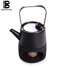 Japanese Style Vintage Black Ceramic Teaware Candle Heating Teapot Warmer Base Kettle Tea Maker Tea Ceremony Accessories Tea Set