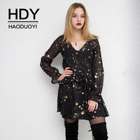 HDY Haoduoyi Space Star Moon V Neck Print Dress Black Long butterfly Sleeve Party Dresses Loose vestidos Spring Summer New