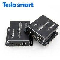 Tesla Smart KVM Extender High Quality 60m USB HDMI IR KVM Extender By CAT5e 6 TCP