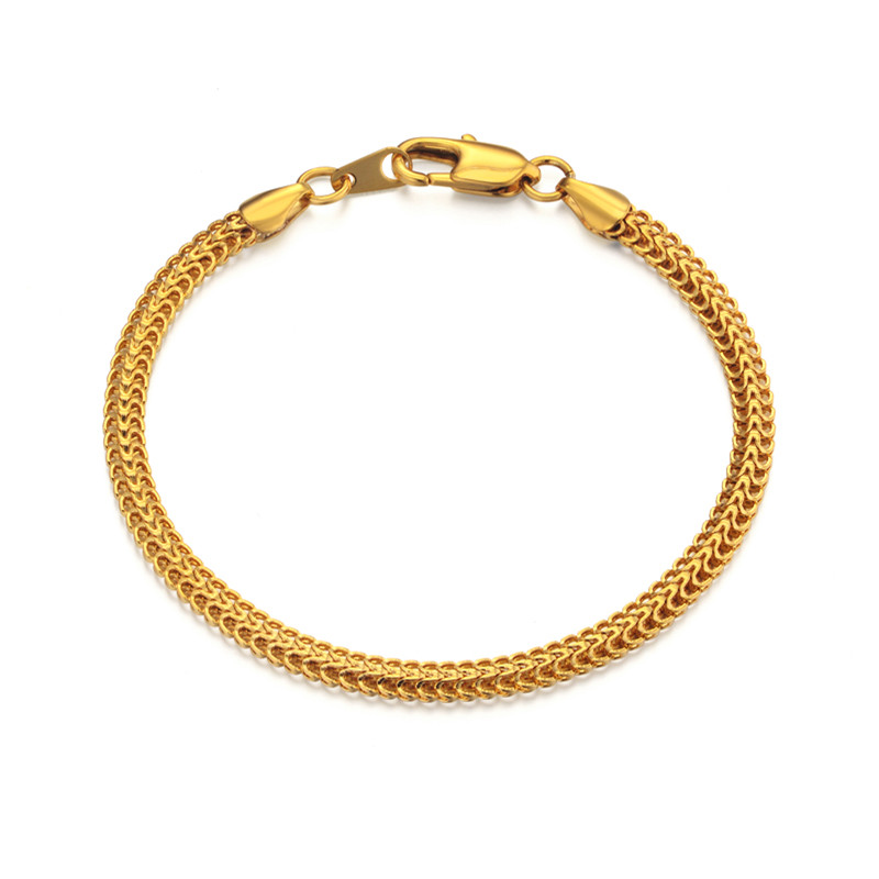 Bracelet Men Jewelry 20CM Hand Chain Link Bracelet For Men/Women Wholesale Braslet Male Gold Color Mens Bracelet