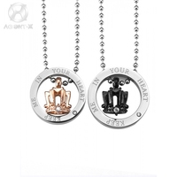AgentX LES BIJOUX Series AgentX 2pc Chain Couple Lover Crowns Rings Stainless Steel Pendant Necklace Jewelry