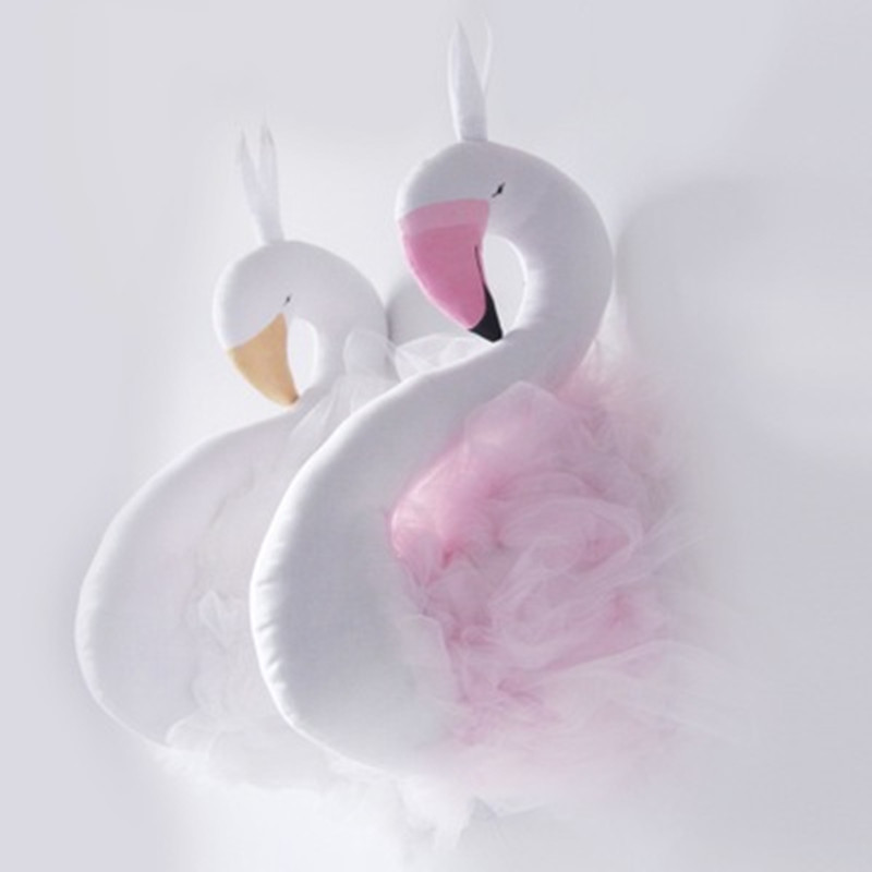 Cute Golden Crown Swan Wall Decor Doll Pink Princess Flamingo Soft Stuffed Toy Animal Head Wall Hanging For Kids Room Baby Gift #4