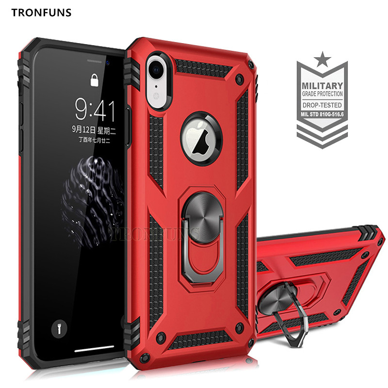 Heavy Duty Shockproof Car Magnet Armor Case For iPhone XS Max X XR 6 6S 7 8 Plus Cover Soft Bumper 360 Ring Stand Case Coque