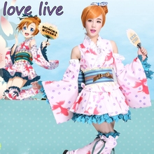 New LoveLive! Honoka Kousaka Cosplay Costume Yukata Kimono Dress Uniform Outfit Halloween Adult Costumes for Women S-XL new arrival love live lovelive kousaka honoka cosplay wig orange and brown mixed full wigs for women girls halloween