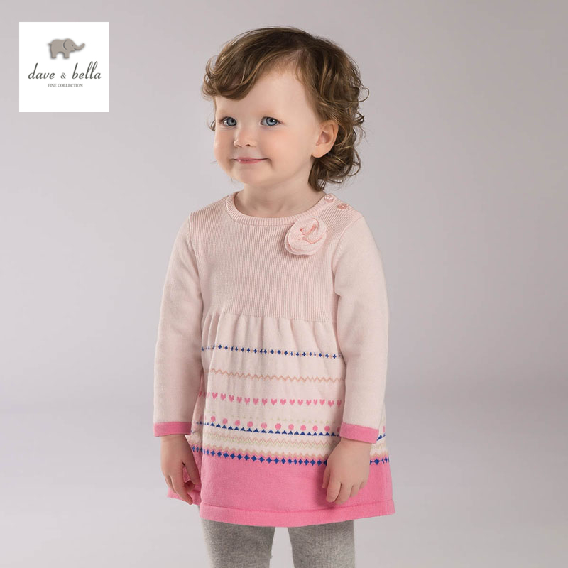f731fd8bf6d7 DB0478 davebella spring girls knitted dress striped pink dress fancy ...