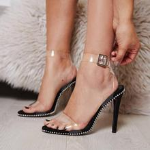 Jelly Shoes Women Sandal Transparent PVC Ankle Strap Summer for Peep Toe Rivets Pearl Decor Black High Heels