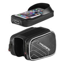 цена на Cycling Bicycle Bike Head Tube Handlebar Cell Mobile Phone Bag Case Holder Waterproof Pannier Double Pouch 6.0 Inch Touch Screen