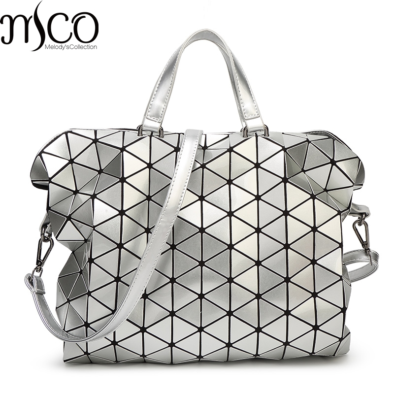 2017 Japan Diamond Lattice Holographic Tote Handbag Women Laser Geometry Quilted Big Briefcase Bao Messenger Bag Shoulder Bags